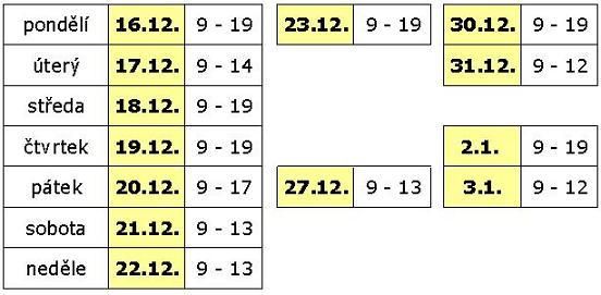 Provozní doba prosinec 2013