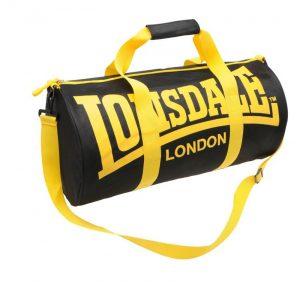 Sportovní taška Lonsdale Barrel 13 černá se žlutou