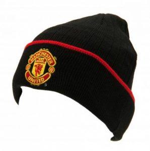 Zimní čepice Manchester United FC černá s proužkem (s lemem)